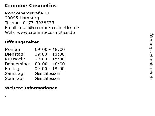 Cromme Cosmetics in Hamburg: Adresse und Öffnungszeiten