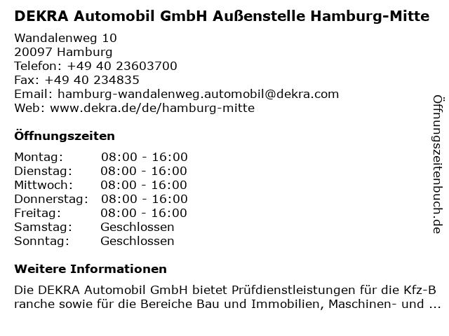 DEKRA Automobil GmbH Außenstelle Hamburg-Mitte in Hamburg: Adresse und Öffnungszeiten