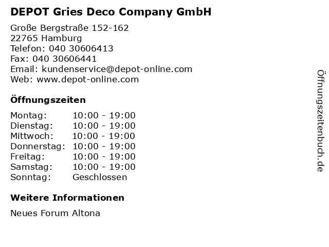DEPOT in Hamburg: Adresse und Öffnungszeiten