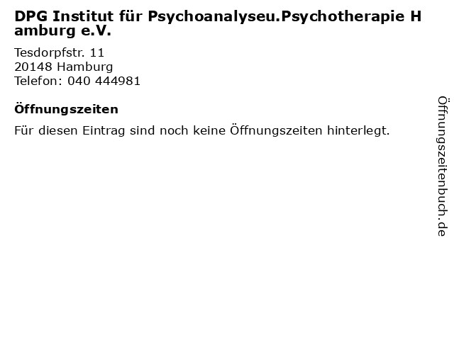 DPG Institut für Psychoanalyseu.Psychotherapie Hamburg e.V. in Hamburg: Adresse und Öffnungszeiten