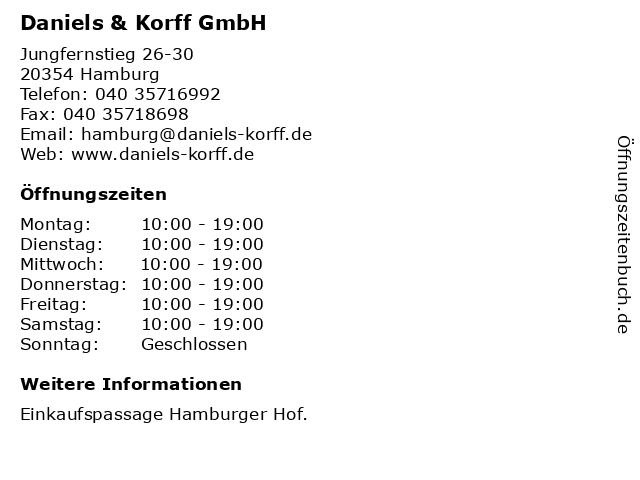 Daniels & Korff GmbH in Hamburg: Adresse und Öffnungszeiten