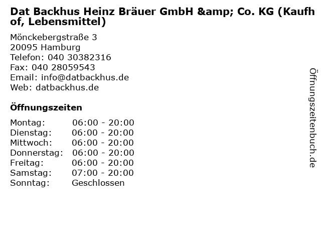Dat Backhus Heinz Bräuer GmbH & Co. KG (Kaufhof, Lebensmittel) in Hamburg: Adresse und Öffnungszeiten