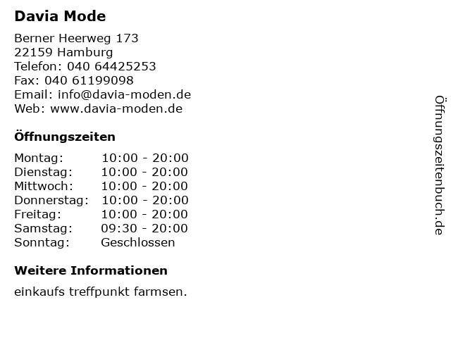 Davia Mode in Hamburg: Adresse und Öffnungszeiten