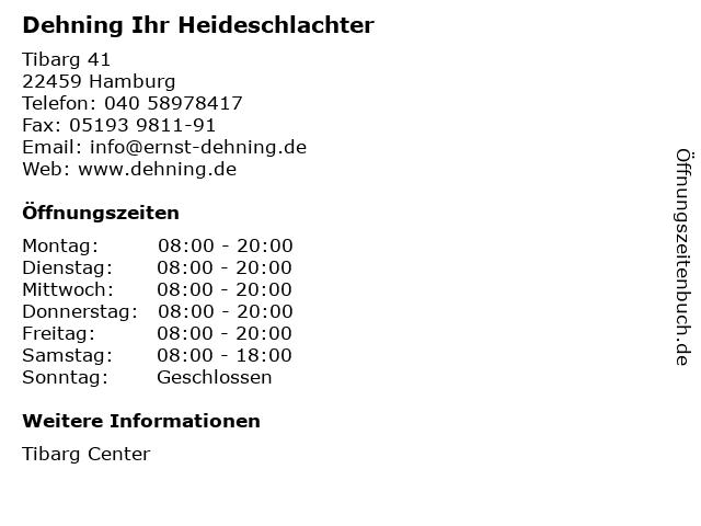 Dehning Ihr Heideschlachter in Hamburg: Adresse und Öffnungszeiten