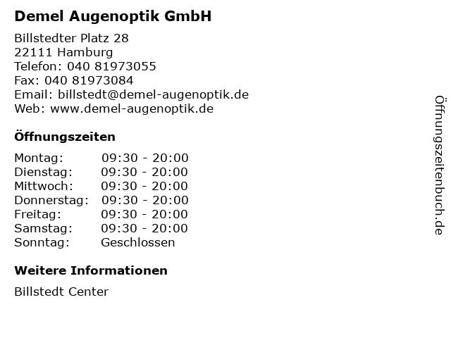 Demel Augenoptik GmbH in Hamburg: Adresse und Öffnungszeiten