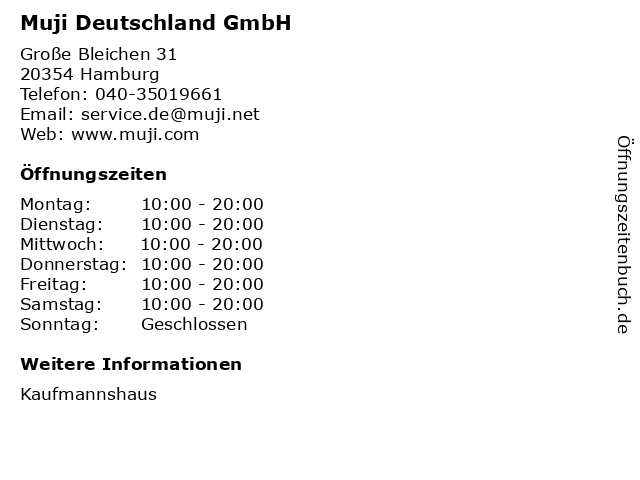 Muji Deutschland GmbH in Hamburg: Adresse und Öffnungszeiten