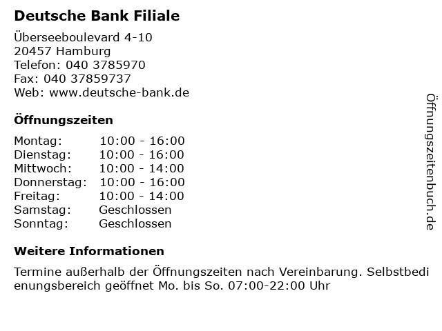 Deutsche Bank - Filiale in Hamburg: Adresse und Öffnungszeiten
