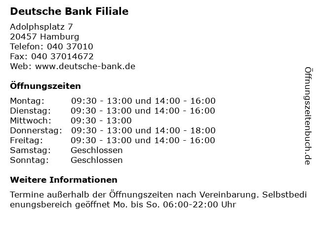 Deutsche Bank Filiale in Hamburg: Adresse und Öffnungszeiten