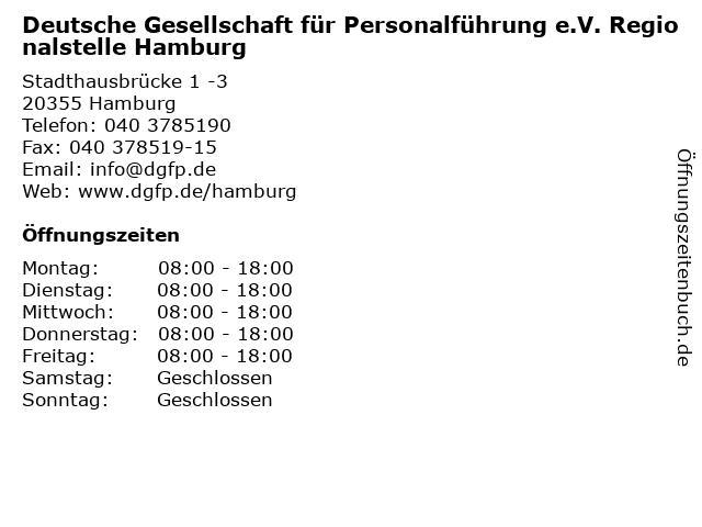 Deutsche Gesellschaft für Personalführung e.V. Regionalstelle Hamburg in Hamburg: Adresse und Öffnungszeiten