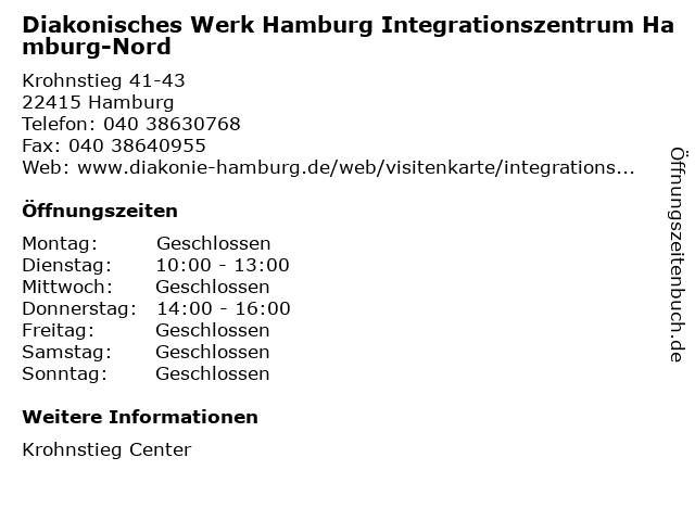 Diakonisches Werk Hamburg Integrationszentrum Hamburg-Nord in Hamburg: Adresse und Öffnungszeiten