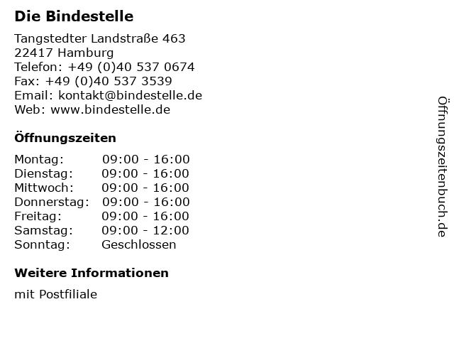 Die Bindestelle in Hamburg: Adresse und Öffnungszeiten