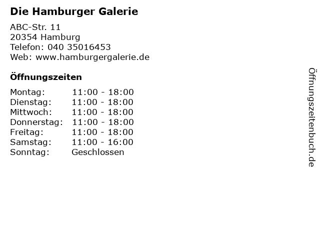 Die Hamburger Galerie in Hamburg: Adresse und Öffnungszeiten