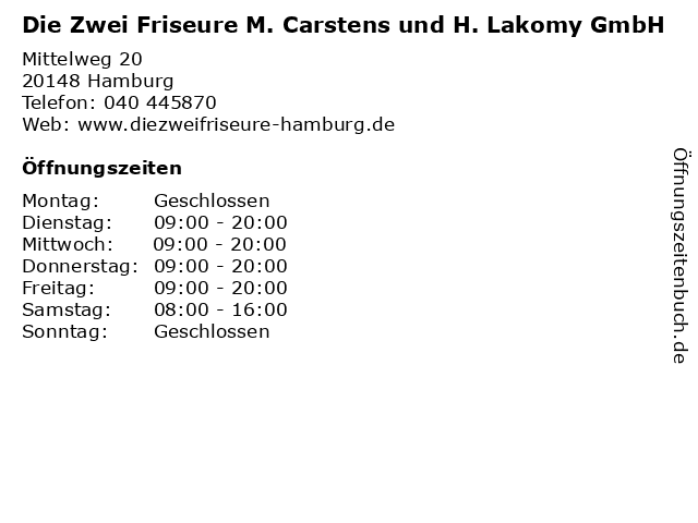 Die Zwei Friseure M. Carstens und H. Lakomy GmbH in Hamburg: Adresse und Öffnungszeiten