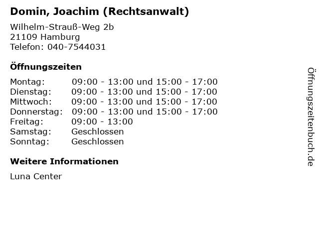 Domin, Joachim (Rechtsanwalt) in Hamburg: Adresse und Öffnungszeiten