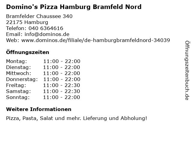 Domino's Pizza Hamburg Bramfeld Nord in Hamburg: Adresse und Öffnungszeiten