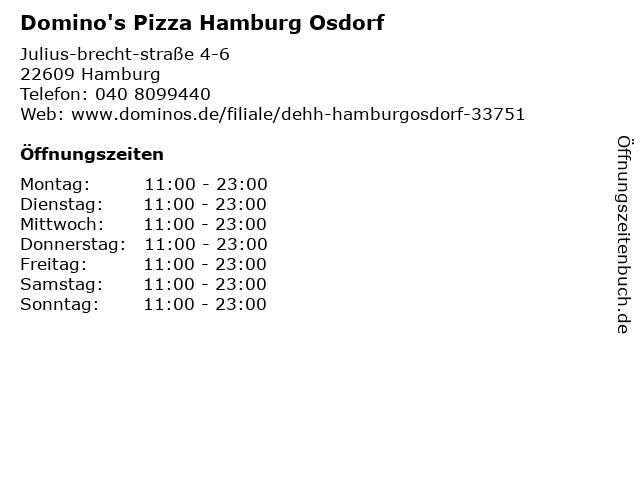 Domino's Pizza Hamburg Osdorf in Hamburg: Adresse und Öffnungszeiten
