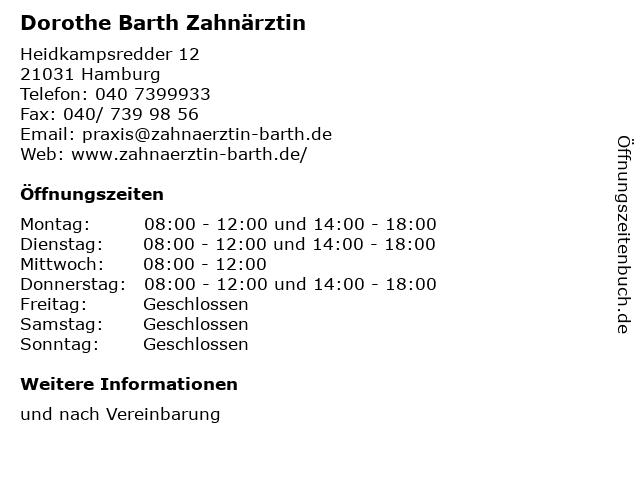 Dorothe Barth Zahnärztin in Hamburg: Adresse und Öffnungszeiten
