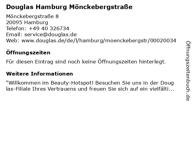 Douglas Hamburg Mönckebergstraße in Hamburg: Adresse und Öffnungszeiten