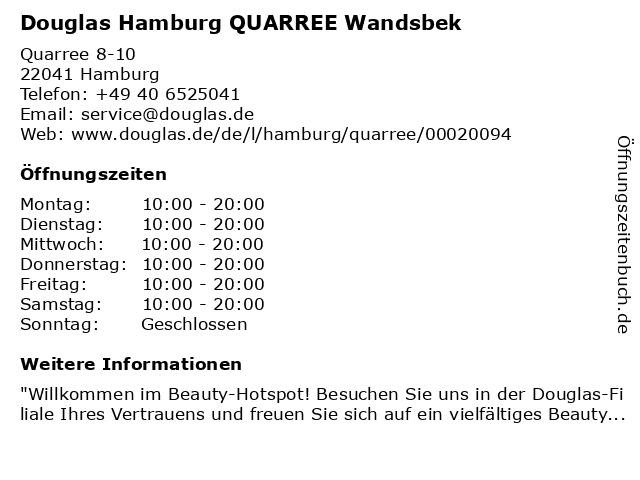 Parfümerie Douglas Hamburg Wandsbek in Hamburg: Adresse und Öffnungszeiten