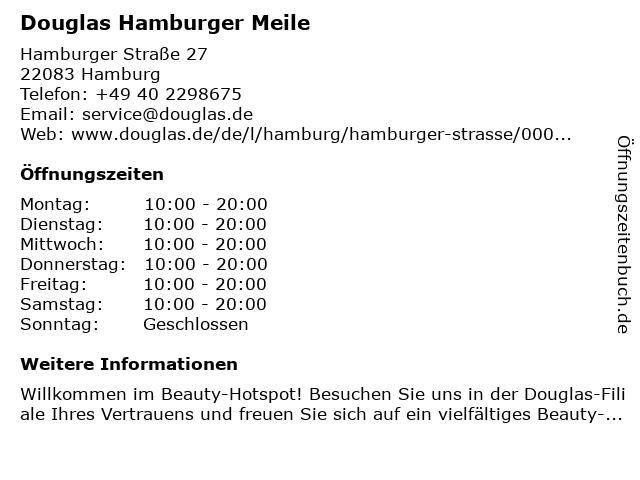 Parfümerie Douglas Hamburg Barmbek in Hamburg: Adresse und Öffnungszeiten