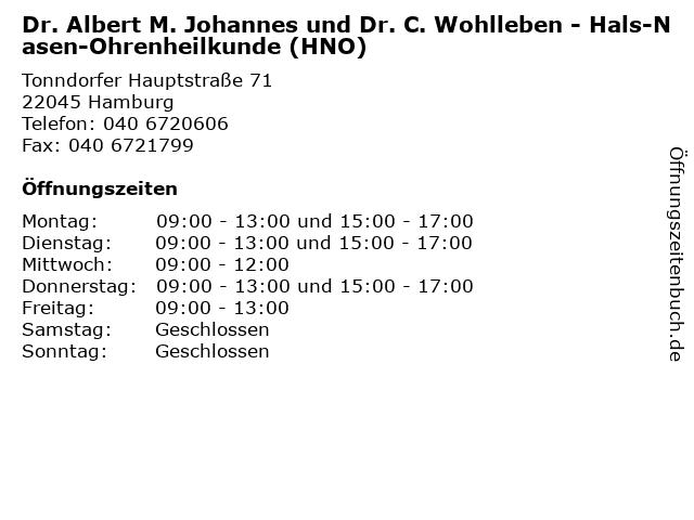 Dr. Albert M. Johannes und Dr. C. Wohlleben - Hals-Nasen-Ohrenheilkunde (HNO) in Hamburg: Adresse und Öffnungszeiten