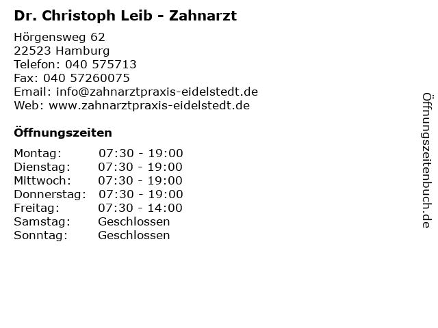 Dr. Christoph Leib - Zahnarzt in Hamburg: Adresse und Öffnungszeiten