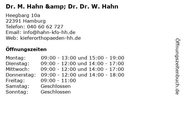 Dr. M. Hahn & Dr. Dr. W. Hahn in Hamburg: Adresse und Öffnungszeiten