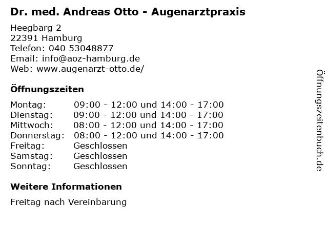 Dr. med. Andreas Otto - Augenarztpraxis in Hamburg: Adresse und Öffnungszeiten