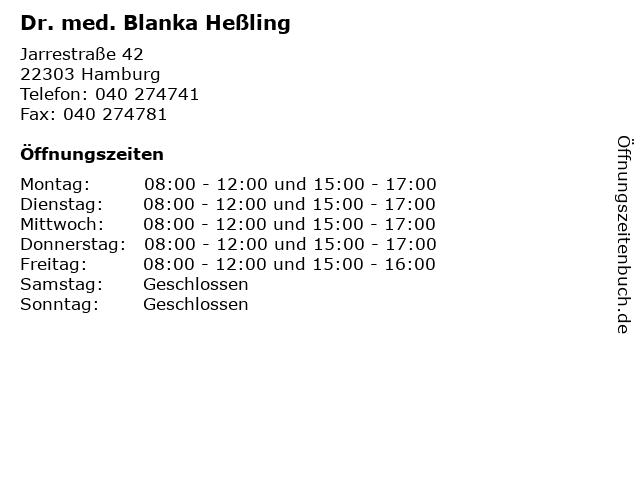 Dr. med. Blanka Heßling in Hamburg: Adresse und Öffnungszeiten