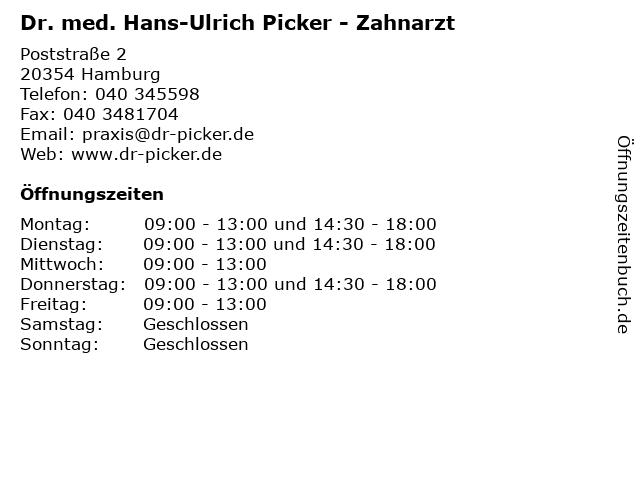 Dr. med. Hans-Ulrich Picker - Zahnarzt in Hamburg: Adresse und Öffnungszeiten