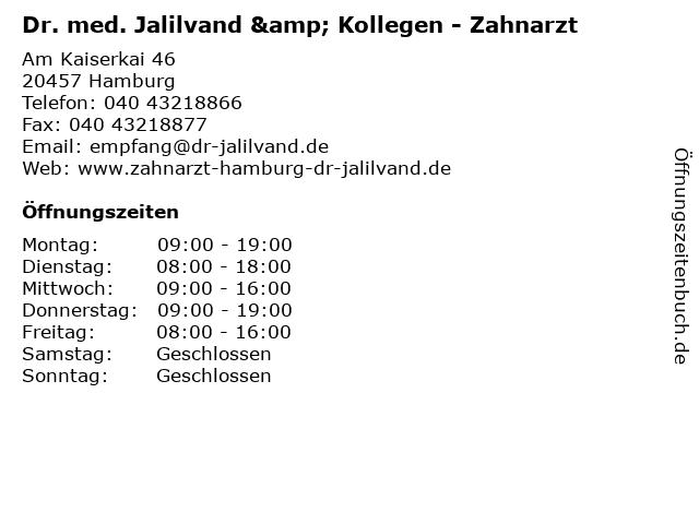Dr. med. Jalilvand & Kollegen - Zahnarzt in Hamburg: Adresse und Öffnungszeiten