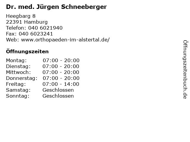 Dr. med. Jürgen Schneeberger in Hamburg: Adresse und Öffnungszeiten