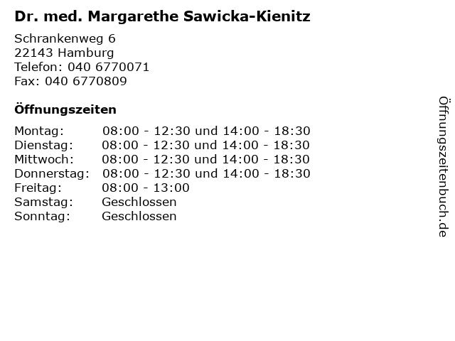 Dr. med. Margarethe Sawicka-Kienitz in Hamburg: Adresse und Öffnungszeiten
