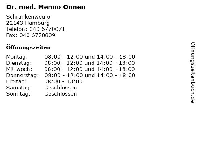 Dr. med. Menno Onnen in Hamburg: Adresse und Öffnungszeiten
