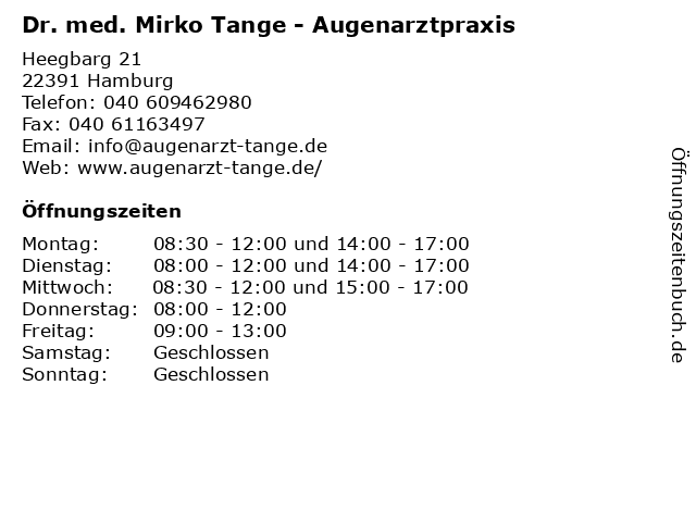 Dr. med. Mirko Tange - Augenarztpraxis in Hamburg: Adresse und Öffnungszeiten
