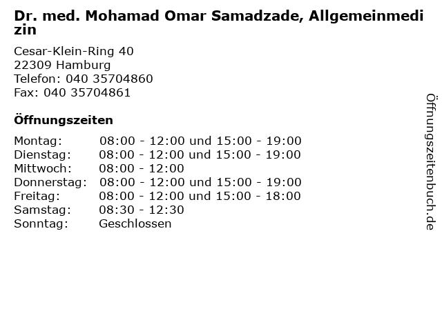 Dr. med. Mohamad Omar Samadzade, Allgemeinmedizin in Hamburg: Adresse und Öffnungszeiten