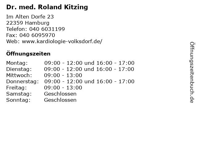 Dr. med. Roland Kitzing in Hamburg: Adresse und Öffnungszeiten