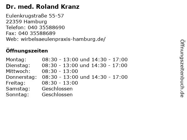 Dr. med. Roland Kranz in Hamburg: Adresse und Öffnungszeiten