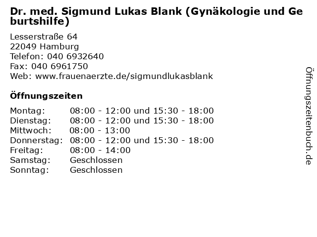 Dr. med. Sigmund L. Blank in Hamburg: Adresse und Öffnungszeiten