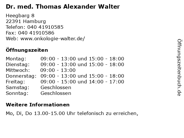 Dr. med. Thomas Alexander Walter in Hamburg: Adresse und Öffnungszeiten