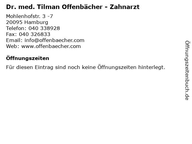 Dr. med. Tilman Offenbächer - Zahnarzt in Hamburg: Adresse und Öffnungszeiten