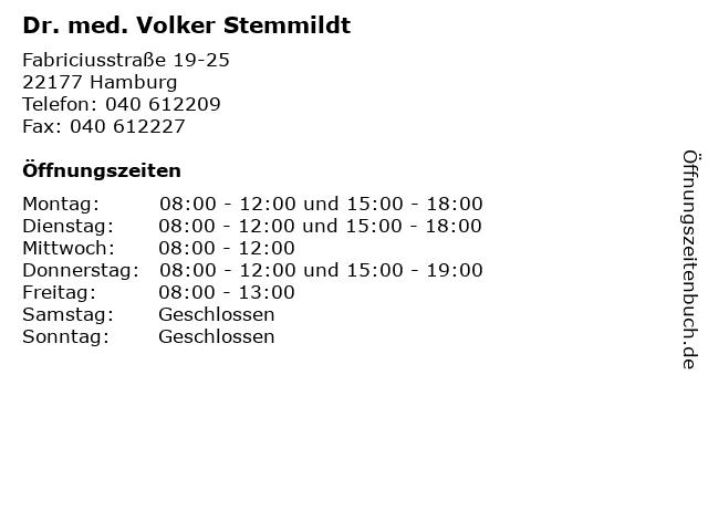 Dr. med. Volker Stemmildt in Hamburg: Adresse und Öffnungszeiten
