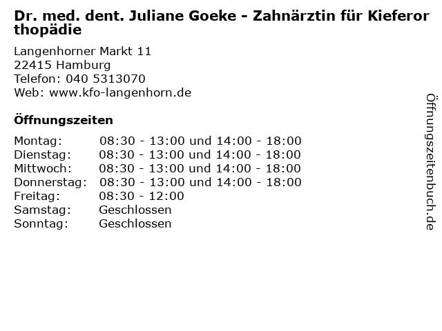 Dr. med. dent. Juliane Goeke - Zahnärztin für Kieferorthopädie in Hamburg: Adresse und Öffnungszeiten