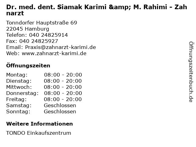 Dr. med. dent. Siamak Karimi & M. Rahimi - Zahnarzt in Hamburg: Adresse und Öffnungszeiten