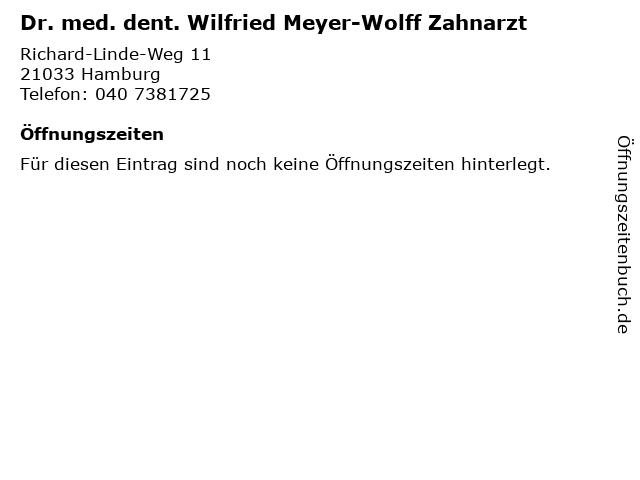 Dr. med. dent. Wilfried Meyer-Wolff Zahnarzt in Hamburg: Adresse und Öffnungszeiten