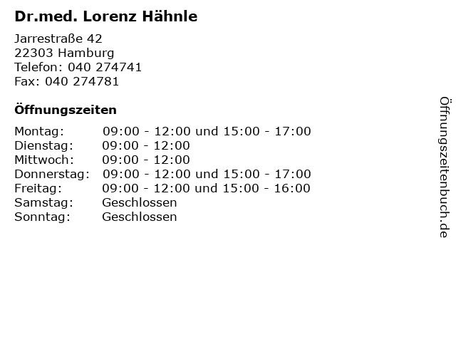 Dr.med. Lorenz Hähnle in Hamburg: Adresse und Öffnungszeiten
