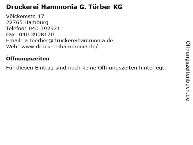 Druckerei Hammonia G. Törber KG in Hamburg: Adresse und Öffnungszeiten