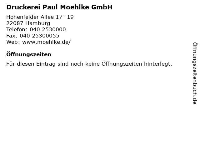 Druckerei Paul Moehlke GmbH in Hamburg: Adresse und Öffnungszeiten