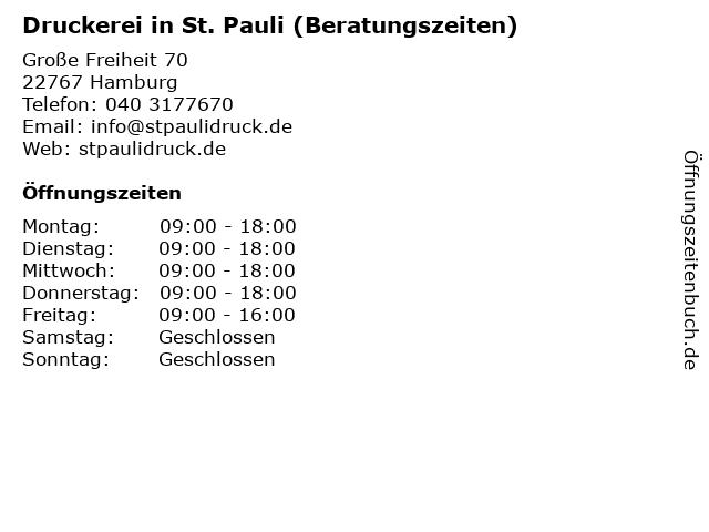 Druckerei in St. Pauli (Beratungszeiten) in Hamburg: Adresse und Öffnungszeiten