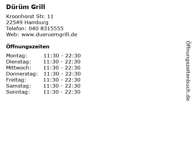 Dürüm Grill in Hamburg: Adresse und Öffnungszeiten